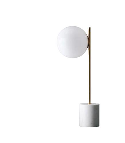WEST ELM SPHERE & STEM TABLE LAMP BRASS-MILK GLASS