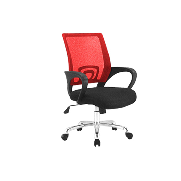 DUO-MESH-BACK-RED-CHAIR-WITH-WHEELS